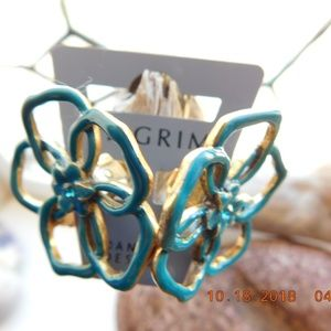 Pilgrim NWT Earrings Clip On Teal Gold